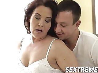 Curvy redhead granny takes throbbing young cock balls deep blowjob cumshot mature sex