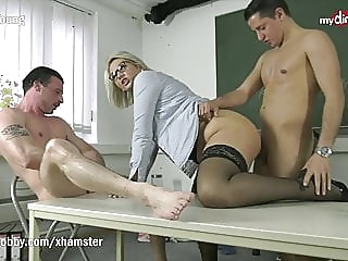 MyDirtyHobby -Threesome with hot college teacher Mrs Tatjana amateur blowjob cumshot sex