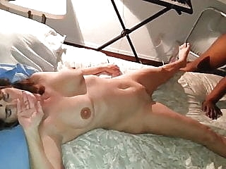 Wife not happy nervous as black cock fucks and creampies her brunette cumshot hardcore sex