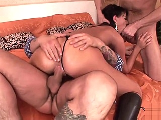 Naughty babe in latex boots gets fucked anal facial hd sex